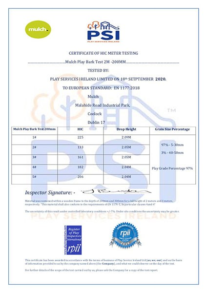 1-PSI Certificate Of Hic testing Mulch Play Bark Test 2M -200MM